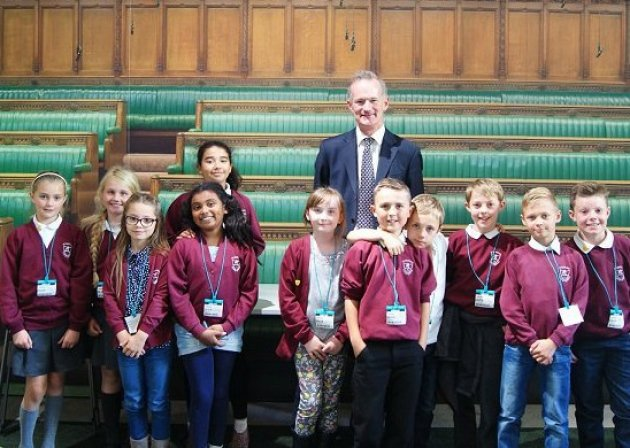 John meets St Martin's Primary School pupils to speak with them about democracy